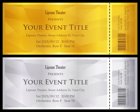 Modern gold and silver ticket with abstract background