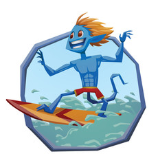 Vector blue round frame with cartoon image of blue male monster of surfing with blond hair, with a tail in red shorts standing on a red-orange surfboard on the blue sea waves on a light background.