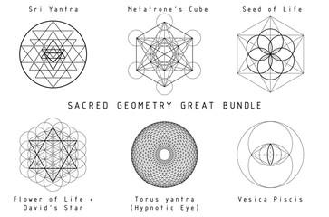 Sacred Geometry Set, great bundle. Black graphics on a white background.