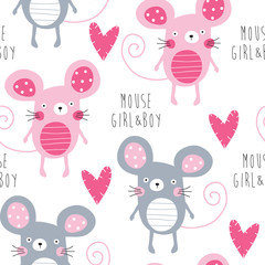 seamless mouse love pattern vector illustration