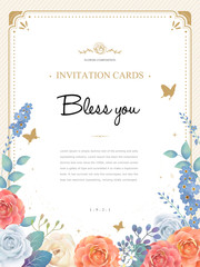 romantic roses invitation template