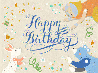 Happy birthday calligraphy design