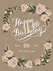 Happy birthday calligraphy and poster design