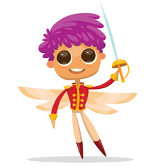 Vector cartoon image of cute male fairy with big eyes, purple hair, light orange butterfly wings in red prince costume with sword in hand on white background. Positive character. Vector illustration.