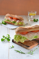 Sandwich with cheese and Turkey ham