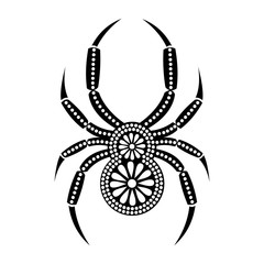 Vector illustration. Icon of decorative ornamental black spider, isolated over white background