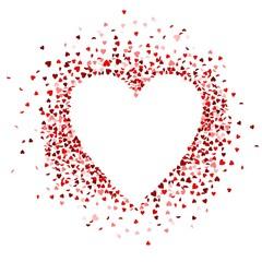 Rote Konfettiherzen bilden ein Herz