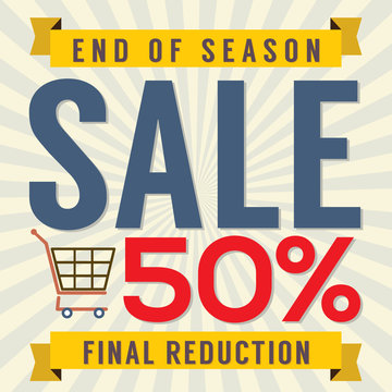 End of Season Sale Vintage Vector Illustration.