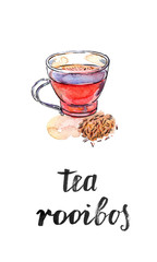 Cup of healthy and tasty traditional herbal rooibos red beverage