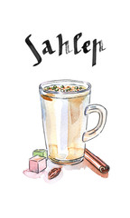 Cup of sahlep with cinnamon made with milk, traditional winter t