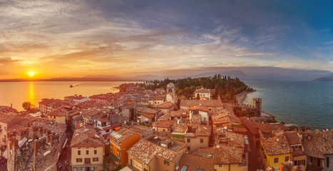 romantic view of the sunset from the Scaliger castle of Sirmione lake garda