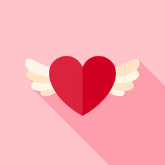 Vector Flat Design Love Heart with Wings Icon