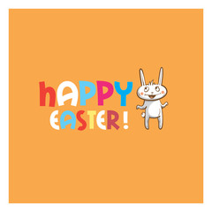 Vector easter card with cute cartoon rabbit and  color text.