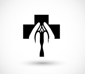 Pray icon vector