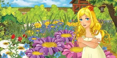 Cartoon farm scene with little elf girl on flowers - image for different fairy tales - illustration for the children
