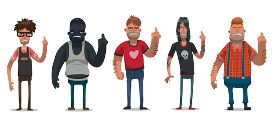 Vector set of images of angry men with different hair color and skin in different clothes, showing middle finger on a light background. Anti Valentine. Vector illustration.