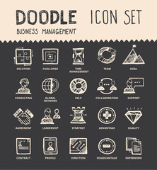 Handmade ink pen line icons set of modern business elements, solution for companies. Creative outline symbol collection. Simple doodle linear pictogram collection. Vector logo illustrations