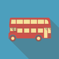 Vector illustration long shadow flat icon of london bus