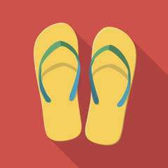 Vector illustration long shadow flat icon of flip flops