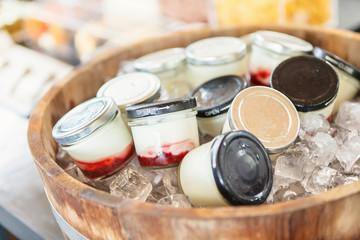 Homemade frozen yogurt in Wooden oak barrel.