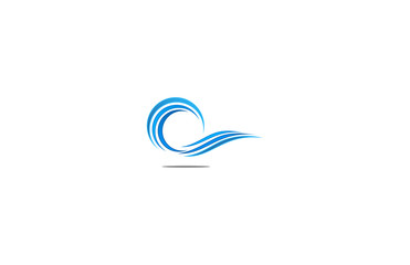 water wave line logo
