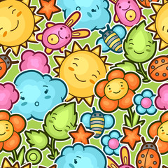 Seamless kawaii child pattern with cute doodles. Spring collection of cheerful cartoon characters sun, cloud, flower, leaf, beetles and decorative objects