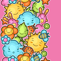 Wall Mural - Seamless kawaii child pattern with cute doodles. Spring collection of cheerful cartoon characters sun, cloud, flower, leaf, beetles and decorative objects