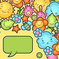 Cute child background with kawaii doodles. Spring collection of cheerful cartoon characters sun, cloud, flower, leaf, beetles and decorative objects