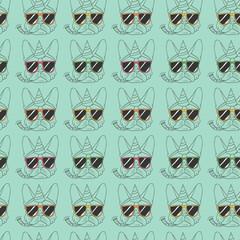 French Bulldog seamless pattern 2