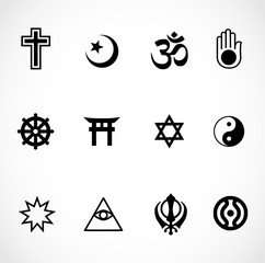 World religions signs icon set vector