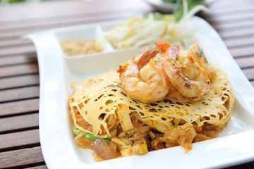 Thai food padthai fried noodle with shrimp