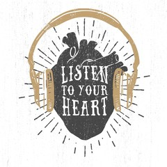 Romantic poster with human heart, headphones, and lettering.