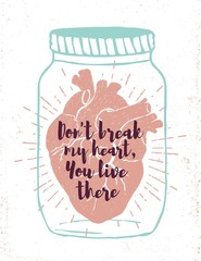 Romantic poster with human heart in a jar.