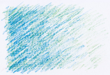 abstract crayon textures blue color on white paper background