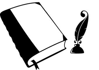 Писатель, блокнот  перо и чернила
