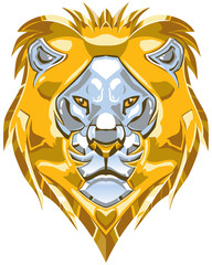 Metallic Gold and Silver Lion Head Vector Illustration
