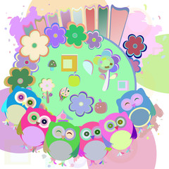 vector retro flowers and cute owls