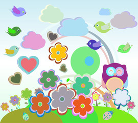 vector Background with owl, birds, flowers, clouds and trees