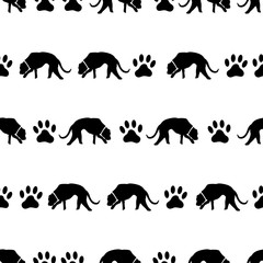 dog and footprints black shadows silhouette in lines pattern eps10