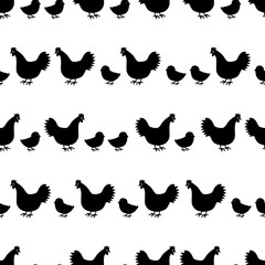 hens and chickens silhouette in lines pattern eps10