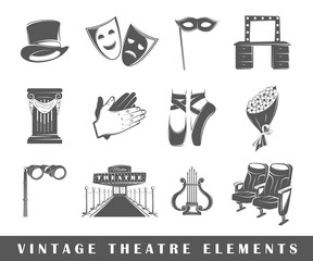Set of elements of the theater. Elements of theater isolated on white. Symbols for theater design, vector. Silhouettes for logo of the theater. Elements for logos. Theater icons. Vector illustration