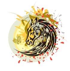 Tribal horse splashes against the sun. Flaming black horse head with the wolf head, floral splashes and blood drops against the decorative sun with a butterfly