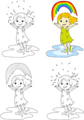 Girl dancing with rainbow . Vector illustration. Coloring and do