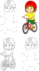 Young boy riding a bicycle in helmet. Vector illustration. Color