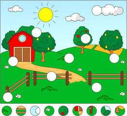 Rural landscape with barn, corral, fields and fruit trees. Compl