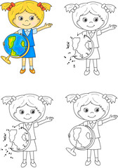 Cartoon schoolgirl with globe. Vector illustration. Coloring and