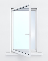 Open window on white background. 3D render image