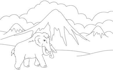 Cartoon mammoth on the background of a prehistoric nature. Educa
