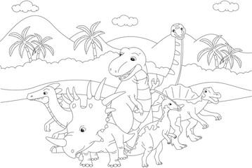 Styracosaurus, spinosaurus, tyrannosaur, stegosaurus and parasau