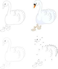 Cartoon swan with her chicks. Vector illustration. Dot to dot ga